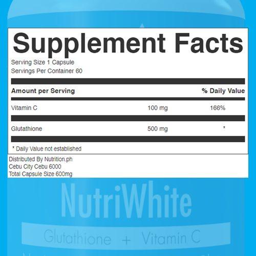 NutriWhite Glutathione Capsules supplement facts 60